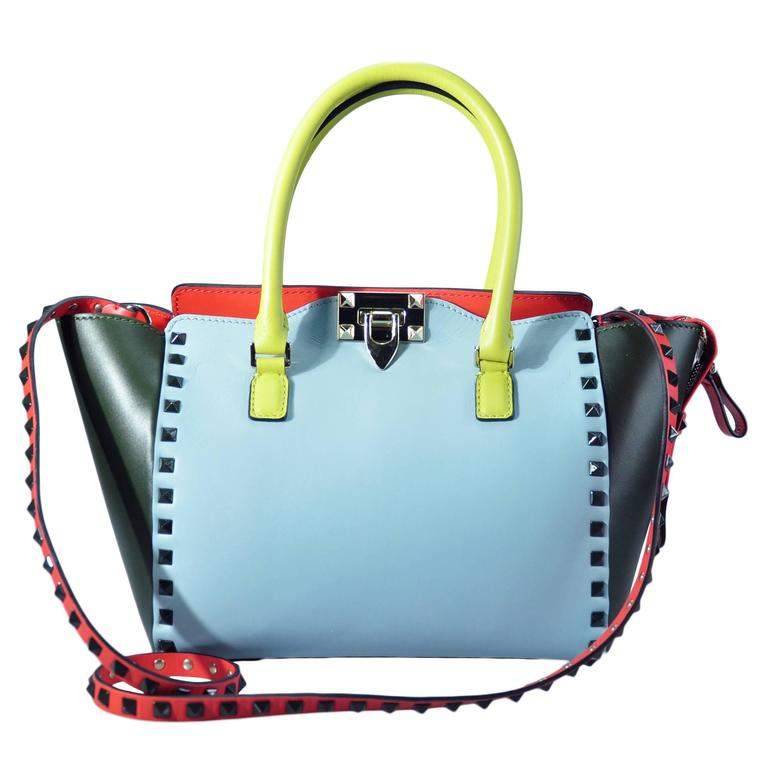 Valentino 2016 Resort  Multi-colored Rockstud Small Trapeze Bag New For Sale