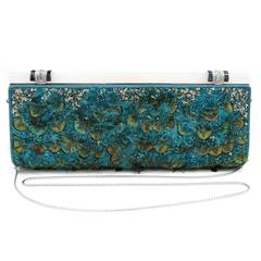 Judith Leiber Teal Peacock Feather Clutch with strap