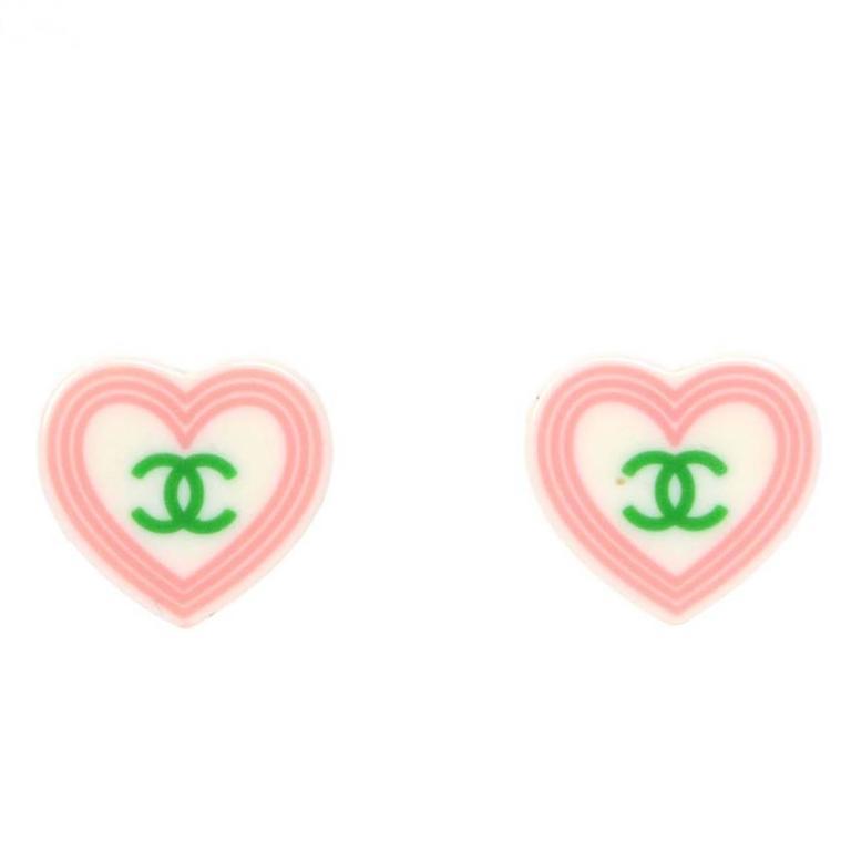 Chanel Heart Shape CC Clip On Earrings 1