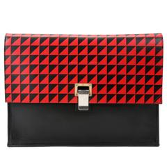 Proenza Schouler Red and Black Leather Lunch Bag Clutch