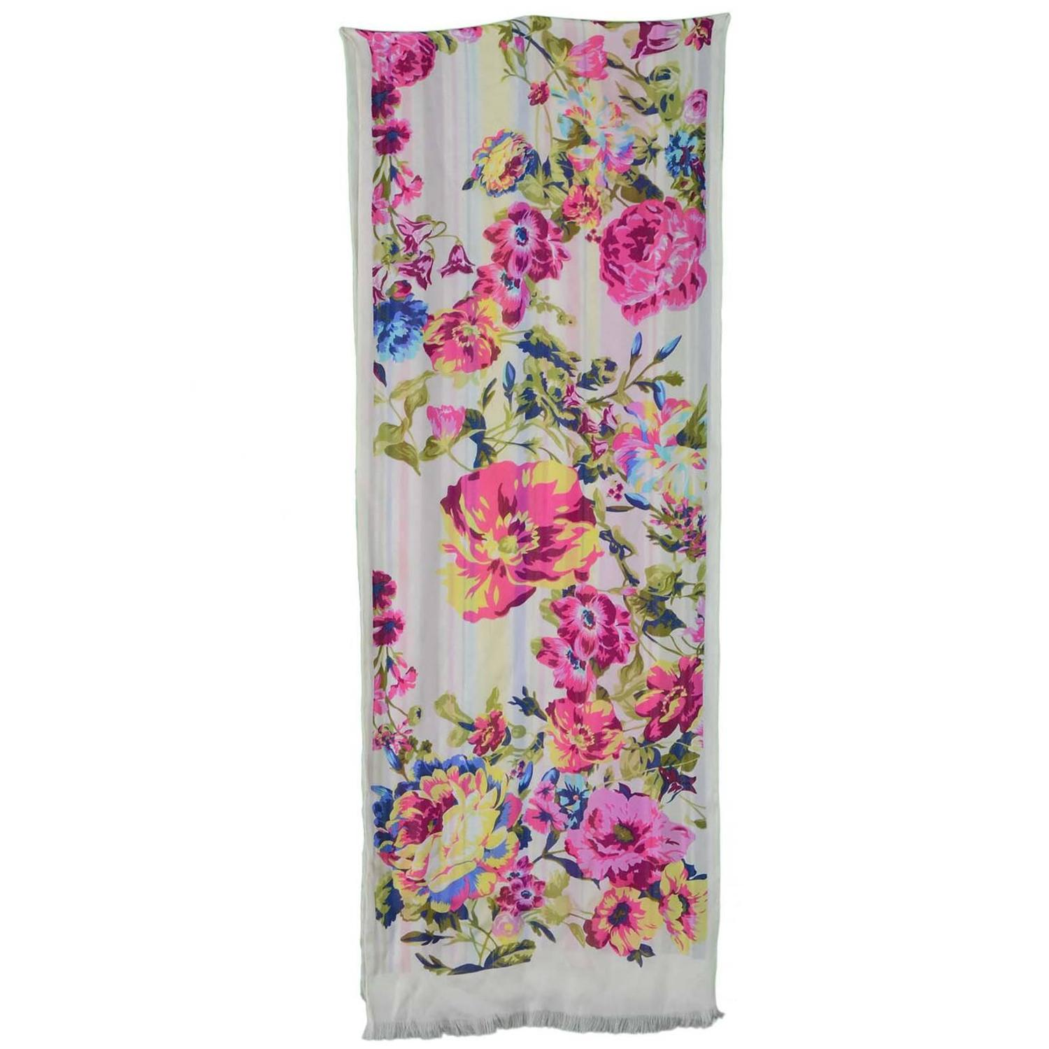 Floral Scarf - Kenzo Floral Stripped Reversible Scarf Org