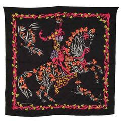 Hermes Black Floral Horse Print 70cm Silk Scarf