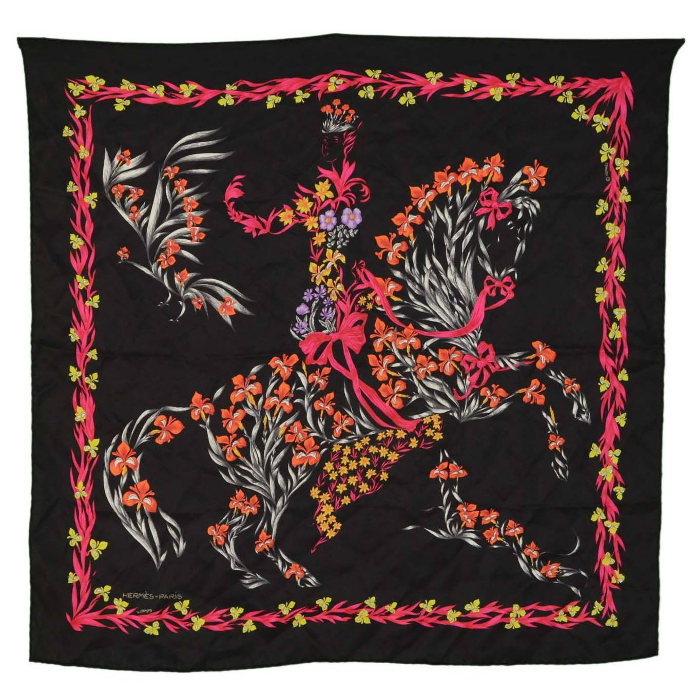 Hermes Black Floral Horse Print 70cm Silk Scarf at 1stdibs