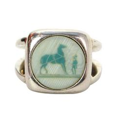Hermes Silver & Stone Plaque Ring sz 52/6