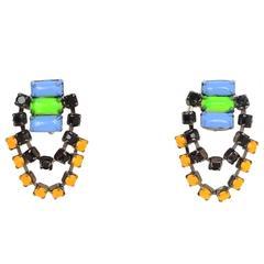 Tom Binns Multi-Colored Chandelier Clip On Earrings