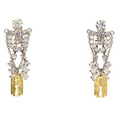 Tom Binns Crystal & Gold Razor Chandelier Earrings