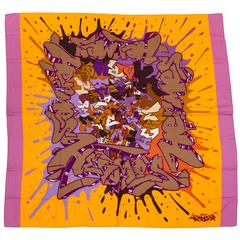 "Hermès Collectible Cashmere 54"" Graffiti Scarf Shawl"