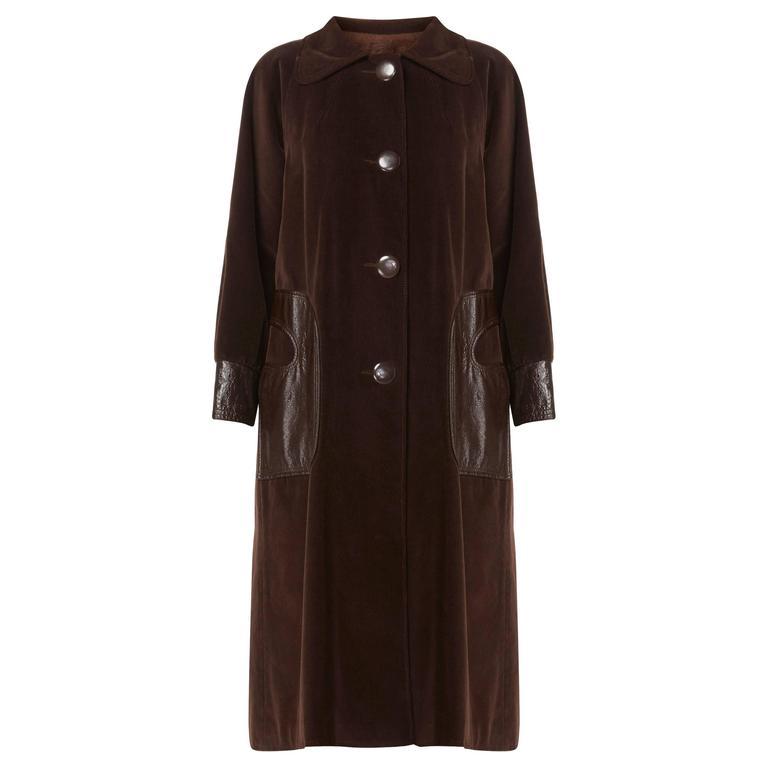 Pierre Cardin brown coat, circa 1970 For Sale