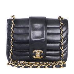 Vintage Chanel Black Lambskin Mini Classic Bag Rare