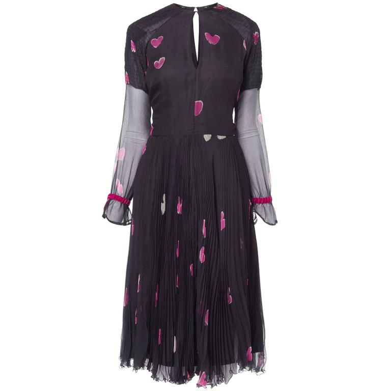 Thea Porter couture navy heart print dress, circa 1975 For Sale