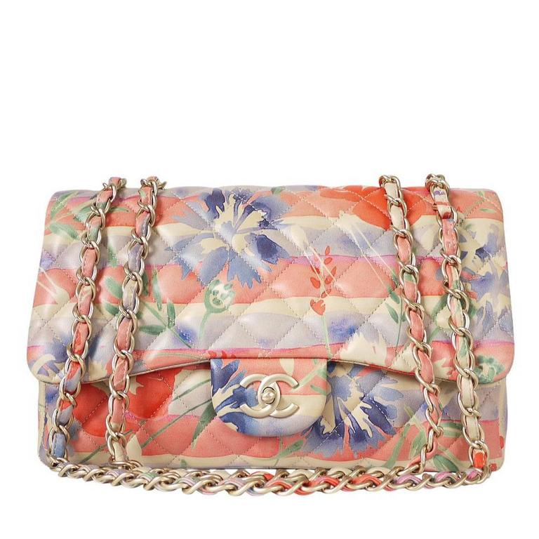 Chanel Floral Print Lambskin Jumbo Maxi Classic Flap Bag Rare At 1stdibs