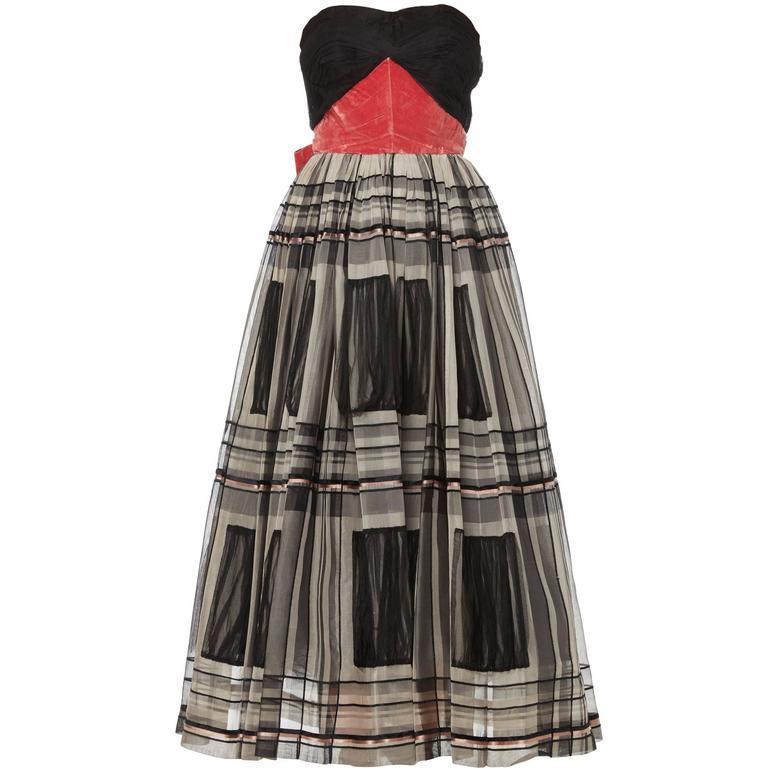 Pierre Balmain haute couture black & pink dress, circa 1955