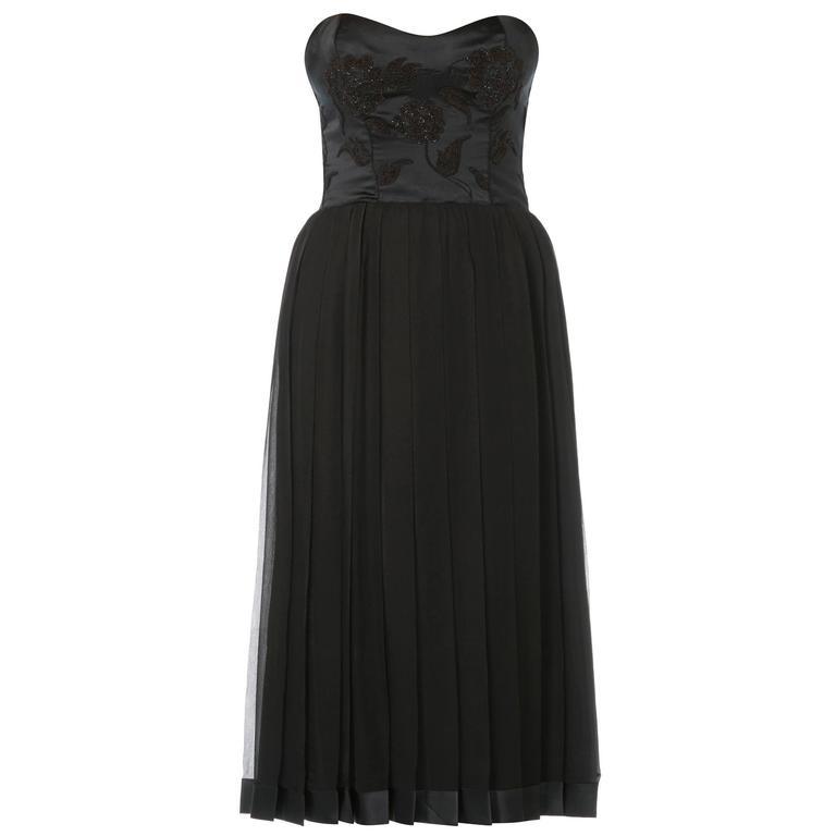 Carven haute couture black dress & cape, circa 1969