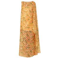 Malcolm Starr orange & gold dress, circa 1968