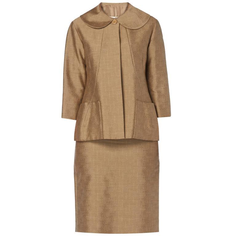 Pierre Cardin haute couture brown skirt suit, circa 1961