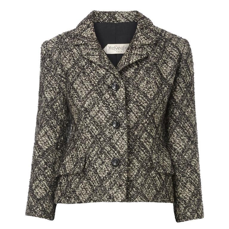 Yves saint laurent haute couture grey tartan jacket circa for Haute couture jacket