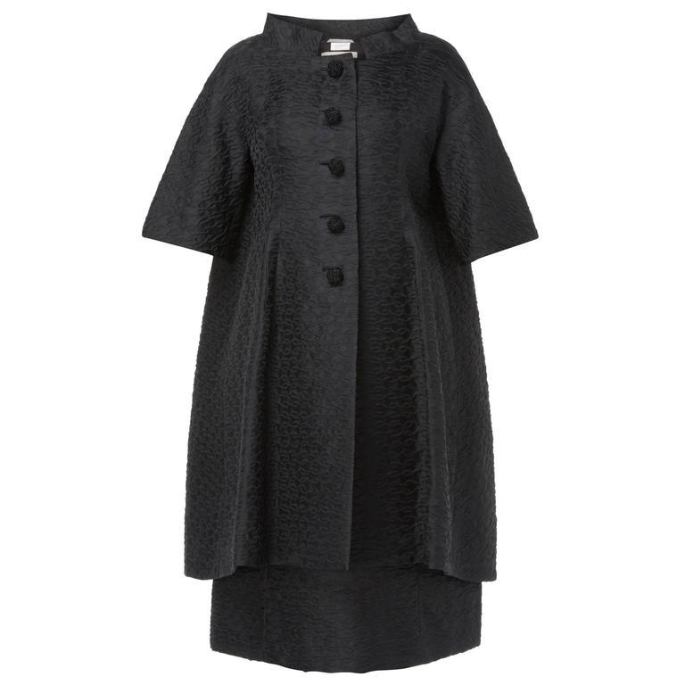 Courrèges haute couture black dress & coat, circa 1965