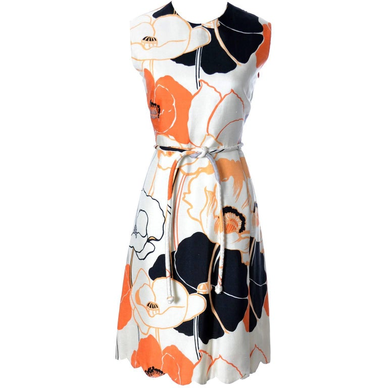 1960s Tina Leser Dress in Bright Mod White Orange & Black Floral Silk For Sale