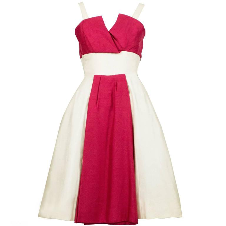 1950s Vintage Jacques Heim Silk Dress Red and Ivory Cocktail Party Soiree