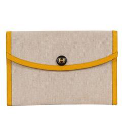 Hermès Yellow Soleil & Toile Clutch
