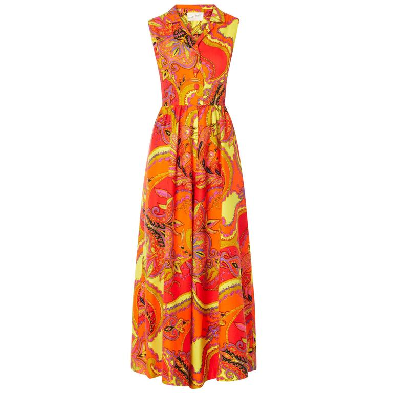 Lord & Taylor orange & yellow print jumpsuit, circa 1968 1