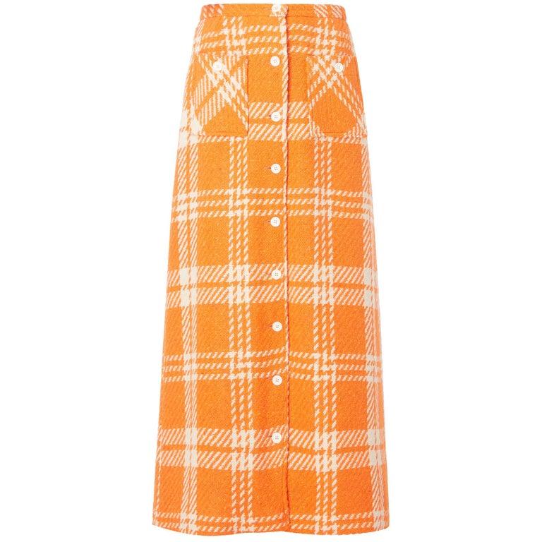 Great Unknown orange houndstooth skirt, circa 1965