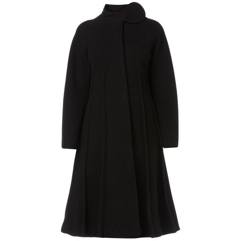 Pierre Cardin black coat, circa 1964 For Sale
