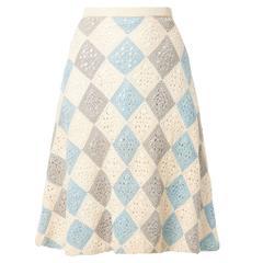 Jean Dessès blue & ivory skirt, circa 1970