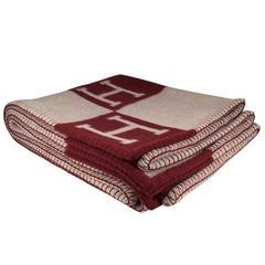 HERMES Avalon Blanket Ecru Rouge H