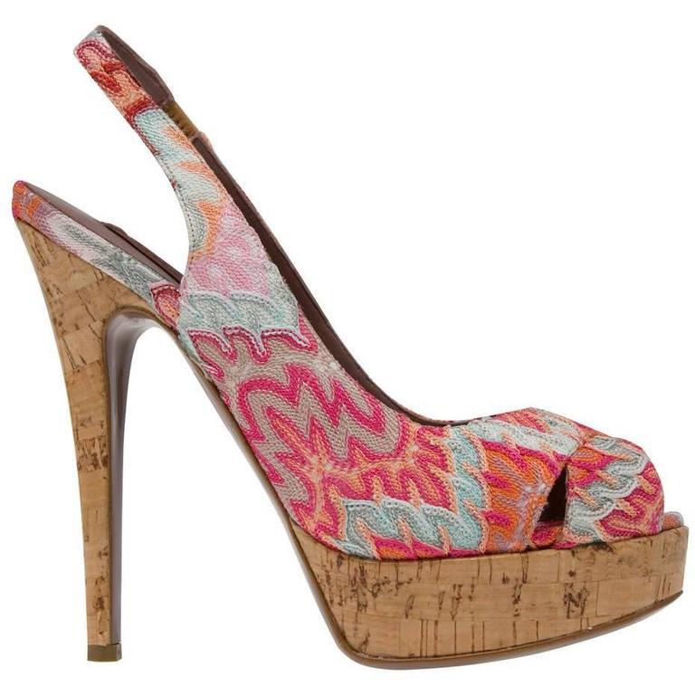 Beautiful Missoni Pink Crochet Knit Peep High Heels For Sale