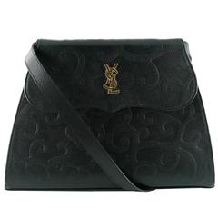 Yves Saint Laurent YSL Vintage Black Leather Arabesque Shoulder Bag