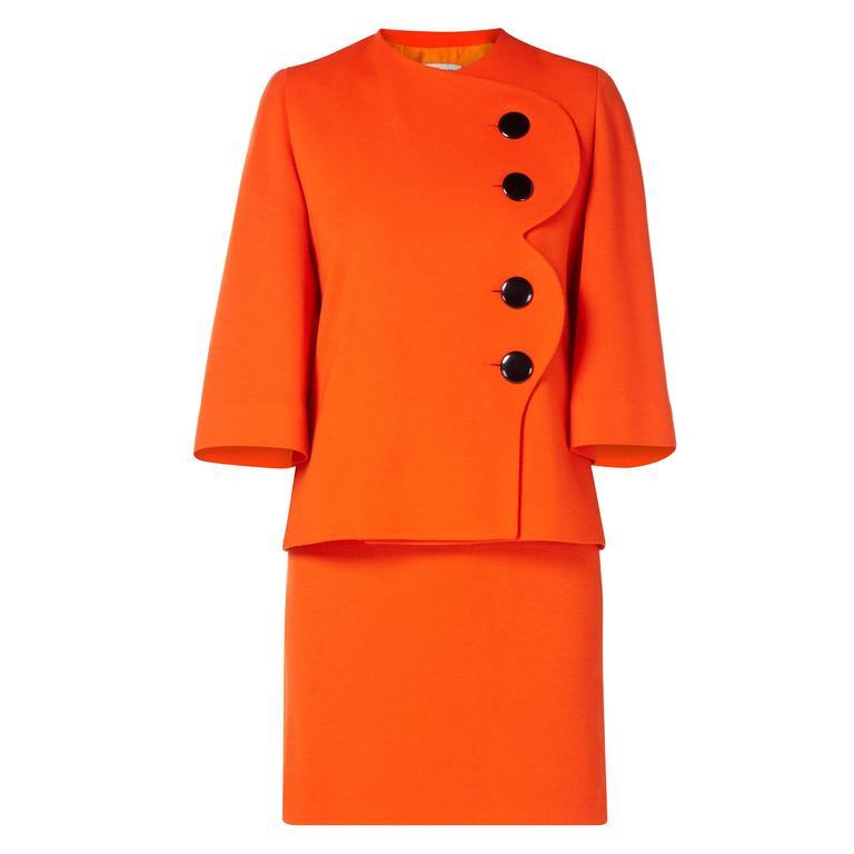 Pierre Cardin orange skirt suit, circa 1980