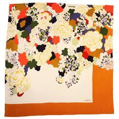 1980s Loewe Floral Print Silk Scarf