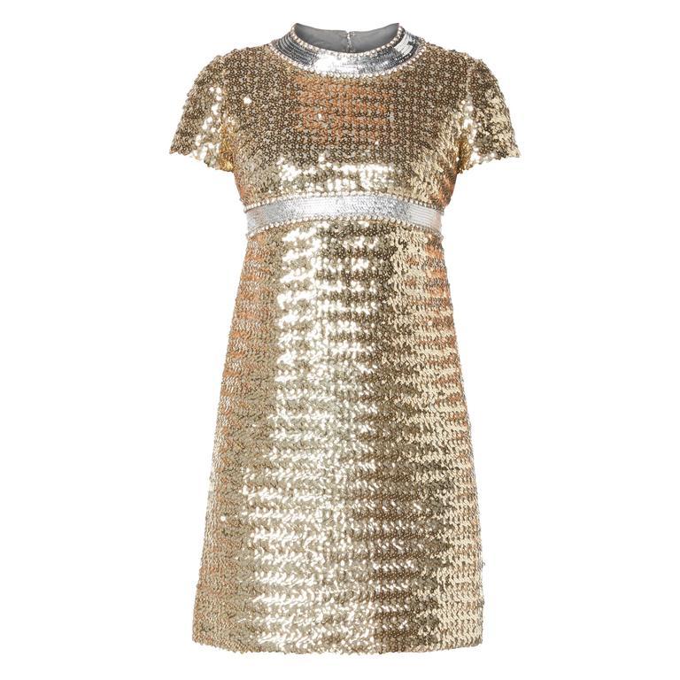 Pat Sandler gold sequin dress, circa 1967 For Sale