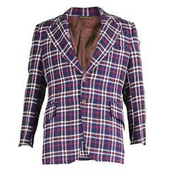 1970s Men's Blue White & Red Checked Wool Blazer