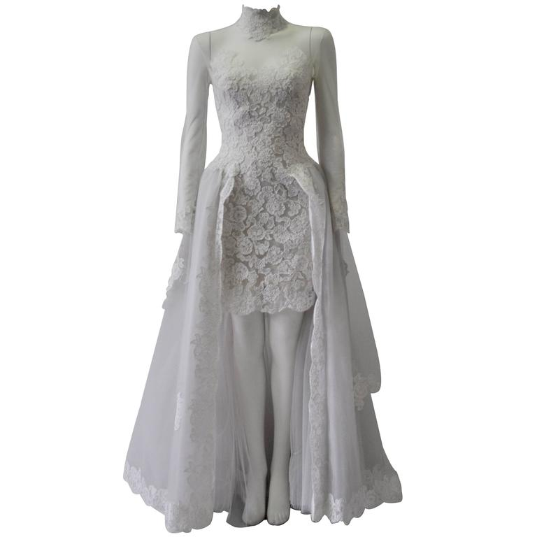 Rare and Important Pino Lancetti High Low Hand Embroidered Wedding Dress 1