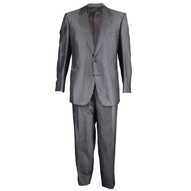 1980s Christian Dior Monsieur Mens Grey Silk 2pc Suit at 1stdibs 00bbbc7a1