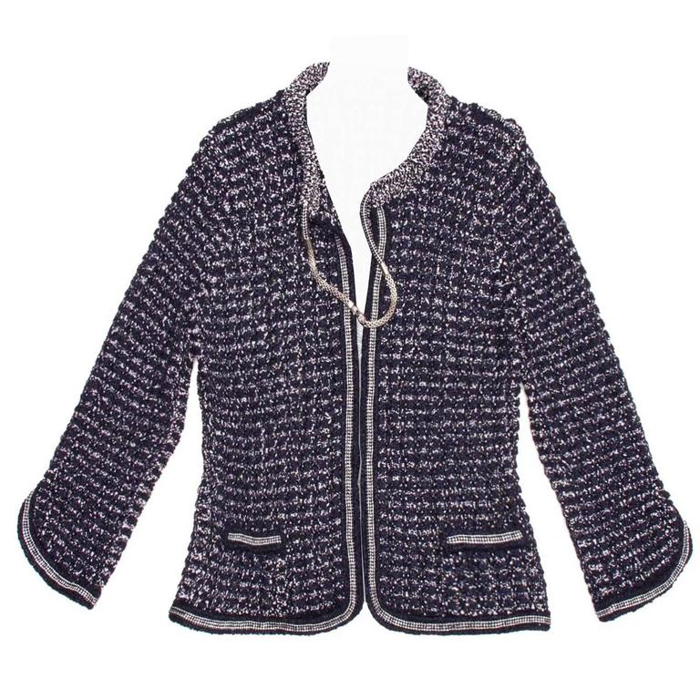 Chanel Navy & Silver Knit Jacket  1