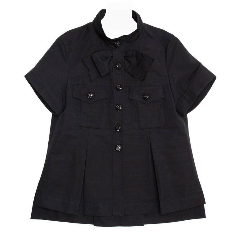 Chanel Black Cotton Shirt Jacket Style With Bow Detail For Sale