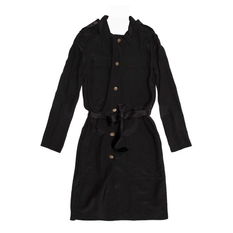 Lanvin Black Silk Shirt Dress 1