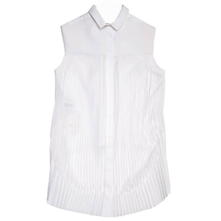 Celine White Cotton & Chiffon Sleeveless Shirt