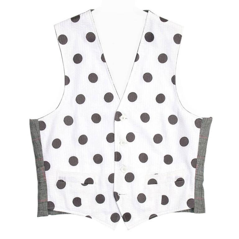 Thom Browne White & Grey Polka Dot Vest For Sale