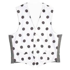 Thom Browne White & Grey Polka Dot Vest