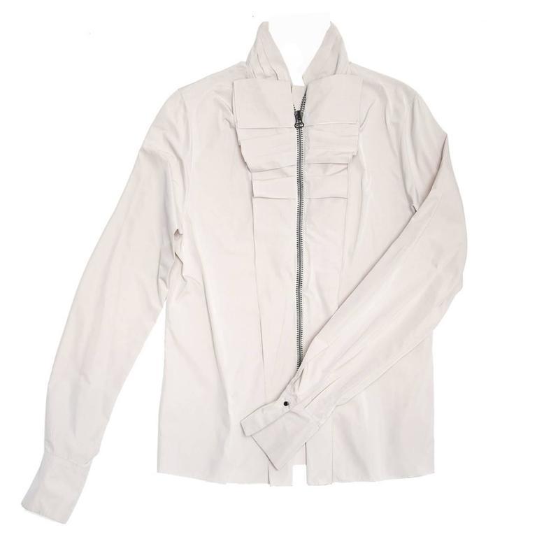 Lanvin Warm Grey Silk Shirt 1