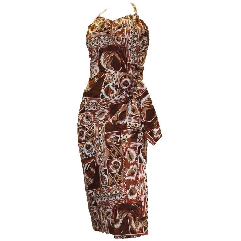 1950s Hawaiian Tiki Printed Dress