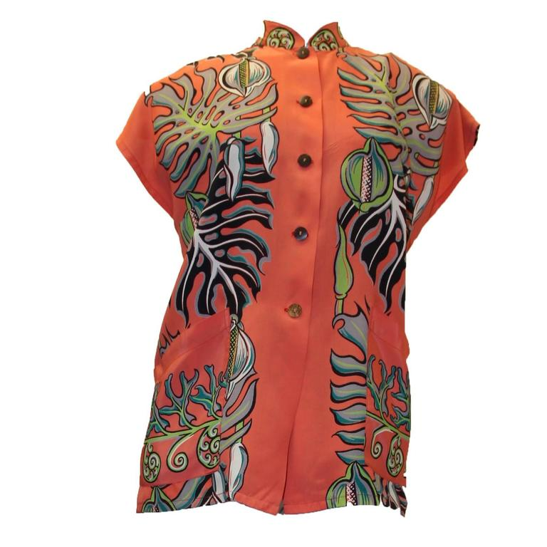 1950s Kamehameha Hawaiian Rayon Printed Blouse For Sale