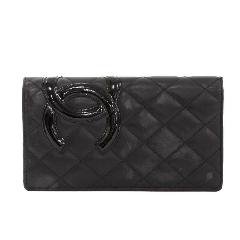 Chanel Cambon Black Quilted Lambskin Leather Long Wallet For Sale