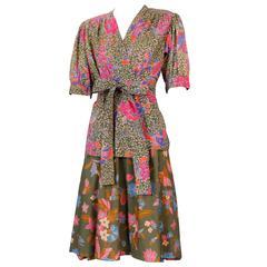 Yves Saint Laurent China Flower & Butterfly Print Skirt & Top Ensemble