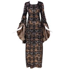1920s Maria Gallenga Couture Metallic Stencilled Velvet Novelty Gown