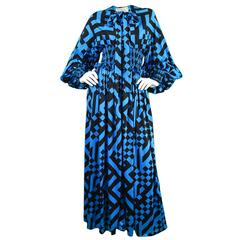 1970s Jean Varon Vintage Blue & Black Balloon Sleeve Dress